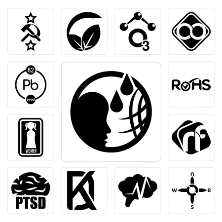 Set Of 13 simple editable icons such as, n s e w, epilepsy, kd, ptsd, nf, women's restroom, rohs, chemical can be used for mobile, web UI