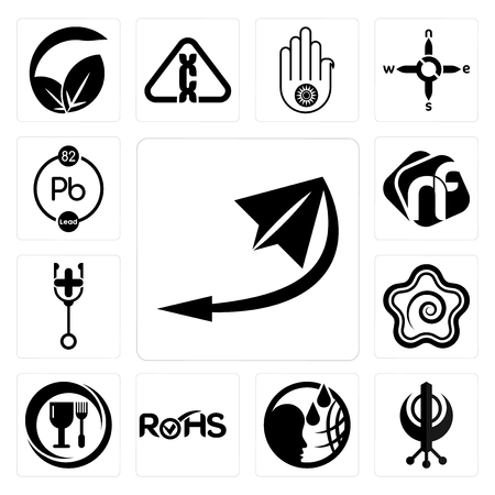 Set Of 13 simple editable icons such as telegram, punjabi, , rohs, food grade, hanamaru, doctor, nf, chemical can be used for mobile, web UI Ilustração