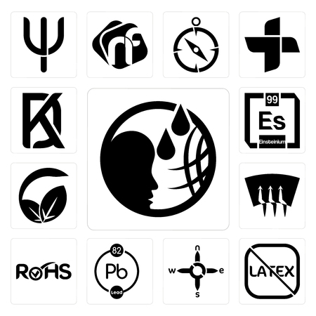 Set Of 13 simple editable icons such as, latex free, n s e w, chemical, rohs, defrost, vegan vs vegetarian, einsteinium, kd can be used for mobile, web UI