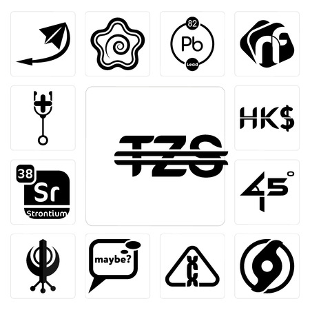 Set Of 13 simple editable icons such as tanzanian shillings, official hurricane, carcinogen, maybe, punjabi, 45 degree angle, strontium, hong kong dollar, doctor can be used for mobile, web UI Ilustração