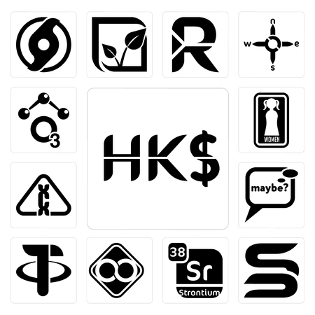 Set Of 13 simple editable icons such as hong kong dollar, sb, strontium, html infinity, tether, maybe, carcinogen, womens restroom, chemical can be used for mobile, web UI Illustration