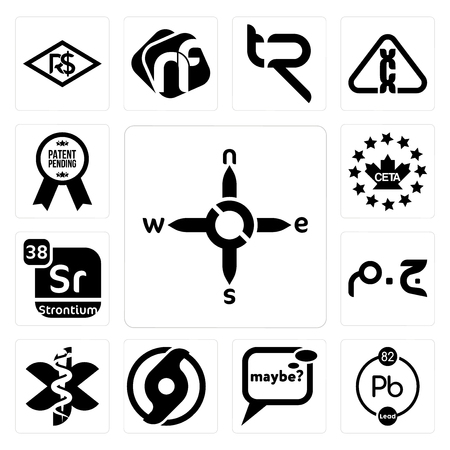 Set Of 13 simple editable icons such as n s e w, chemical, maybe, official hurricane, paramedic, egyptian pound, strontium, ceta, patent pending can be used for mobile, web UI Illusztráció