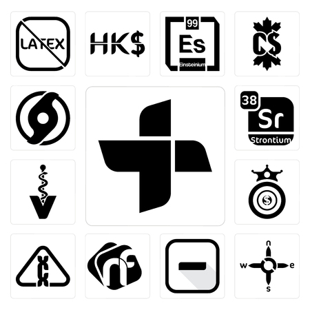 Set Of 13 simple editable icons such as plus, n s e w, hyphen, nf, carcinogen, oligarchy, veterinary caduceus, strontium, official hurricane can be used for mobile, web UI