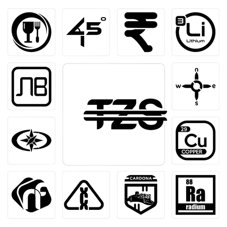 Set Of 13 simple editable icons such as tanzanian shillings, radium, cardona, carcinogen, nf, copper, polaris, n s e w, bulgarian currency can be used for mobile, web UI