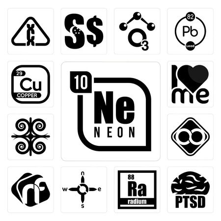 Set Of 13 simple editable icons such as neon, ptsd, radium, n s e w, nf, html infinity, , copper can be used for mobile, web UI Illusztráció