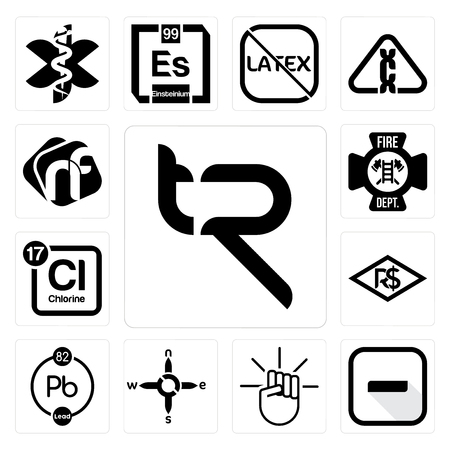 Set Of 13 simple editable icons such as tr, hyphen, , n s e w, chemical, brazilian real, periodic table chlorine, fire dept, nf can be used for mobile, web UI