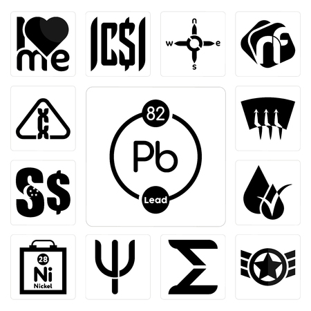 Set Of 13 simple editable icons such as chemical, air force, sigma, psi, nickel, hypoallergenic, singapore dollar, defrost, carcinogen can be used for mobile, web UI