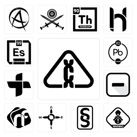 Set Of 13 simple editable icons such as carcinogen, choking hazard, paragraf, n s e w, nf, hyphen, plus, chemical, einsteinium can be used for mobile, web UI