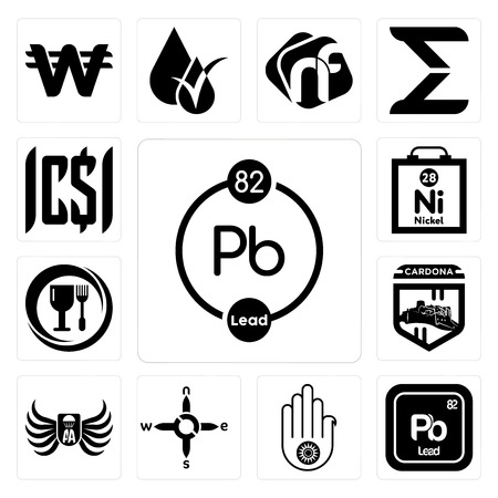 Set Of 13 simple editable icons such as chemical, pb jain, n s e w, army airborne, cardona, food grade, nickel, can be used for mobile, web UI Ilustrace