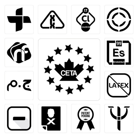 Set Of 13 simple editable icons such as ceta, psy, patent pending, blacklisted, hyphen, latex free, egyptian pound, einsteinium, nf can be used for mobile, web UI