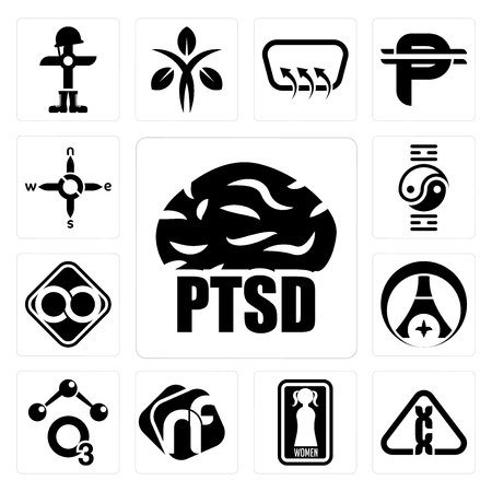 Set Of 13 simple editable icons such as ptsd, carcinogen, women's restroom, nf, chemical, psg, html infinity, qigong, n s e w can be used for mobile, web UI