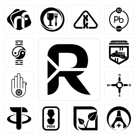 Set Of 13 simple editable icons such as south african rand, psg, pure veg, mens bathroom, tether, n s e w, jain, cardona, qigong can be used for mobile, web UI