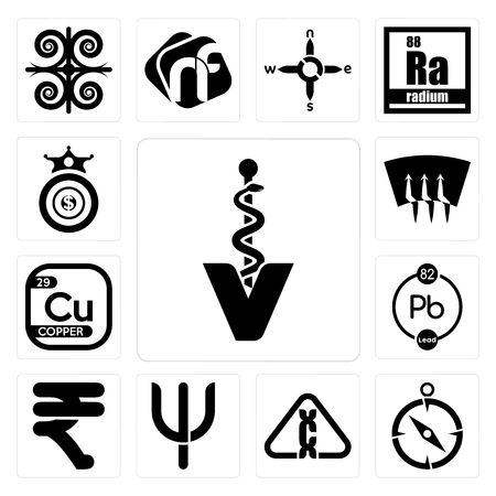 Set Of 13 simple editable icons such as veterinary caduceus, compas, carcinogen, psi, rupees, chemical, copper, defrost, oligarchy can be used for mobile, web UI Ilustracja