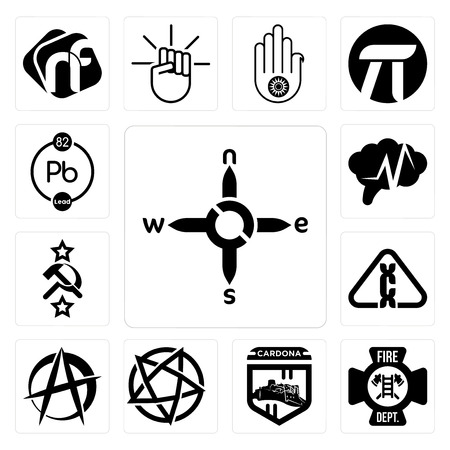 Set Of 13 simple editable icons such as n s e w, fire dept, cardona, devil's, anarchist, carcinogen, soviet, epilepsy, chemical can be used for mobile, web UI