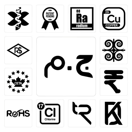 Set Of 13 simple editable icons such as egyptian pound, kd, tr, periodic table chlorine, rohs, rupees, ceta, , brazilian real can be used for mobile, web UI