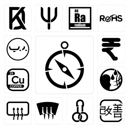 Set Of 13 simple editable icons such as compas, kaizen, dick, defrost, car defroster, , copper, rupees, bahrain currency can be used for mobile, web UI