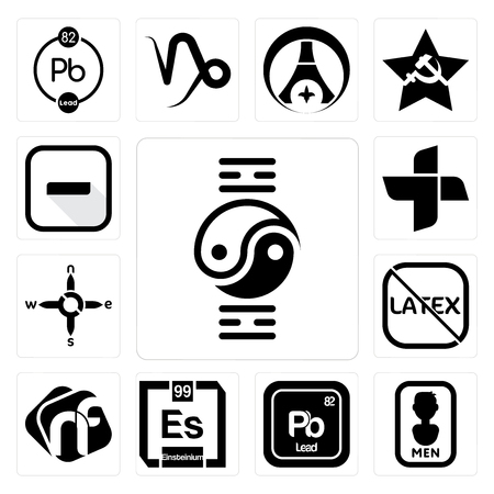 Set Of 13 simple editable icons such as qigong, mens bathroom, pb chemical, einsteinium, nf, latex free, n s e w, plus, hyphen can be used for mobile, web UI Çizim