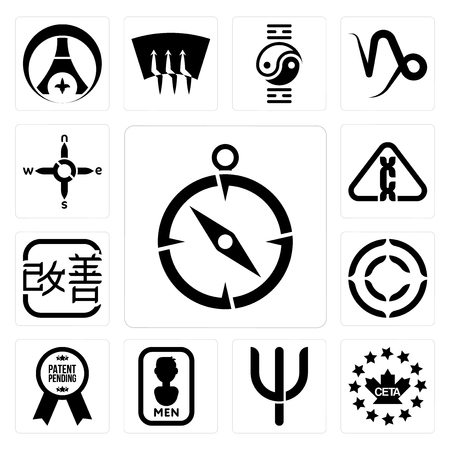 Set Of 13 simple editable icons such as compas, ceta, psi, mens bathroom, patent pending, copyright, kaizen, carcinogen, n s e w can be used for mobile, web UI