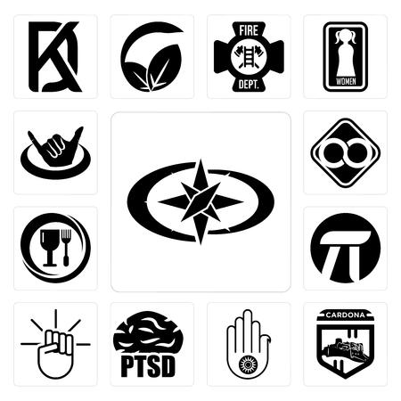 Set Of 13 simple editable icons such as polaris, cardona, jain, ptsd, , pi, food grade, html infinity, hang ten can be used for mobile, web UI