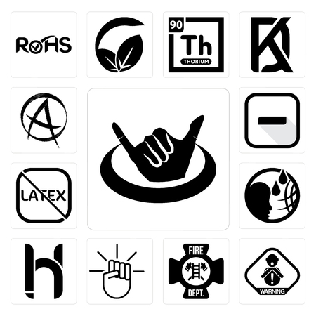 Set Of 13 simple editable icons such as hang ten, choking hazard, fire dept, , hh, latex free, hyphen, punk anarchy can be used for mobile, web UI Illustration