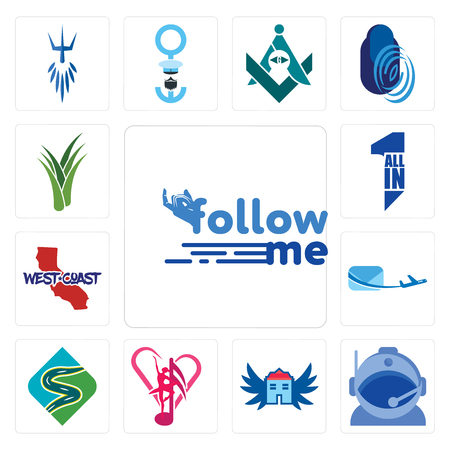 Set Of 13 simple editable icons such as follow me, astronaut helmet, house with wings, culture club, winding road, air mail, west coast, all in one, aloe vera can be used for mobile, web UI
