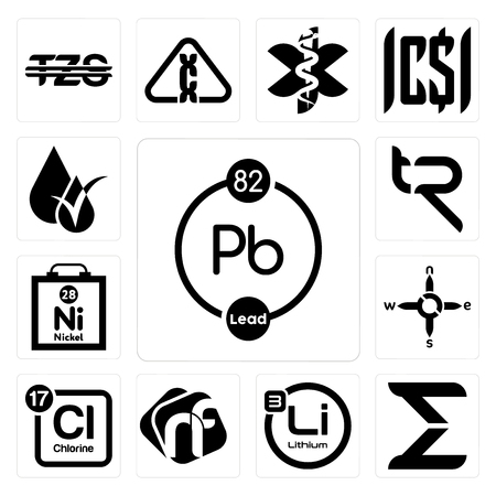 Set Of 13 simple editable icons such as chemical, sigma, lithium, nf, periodic table chlorine, n s e w, nickel, tr, hypoallergenic can be used for mobile, web UI