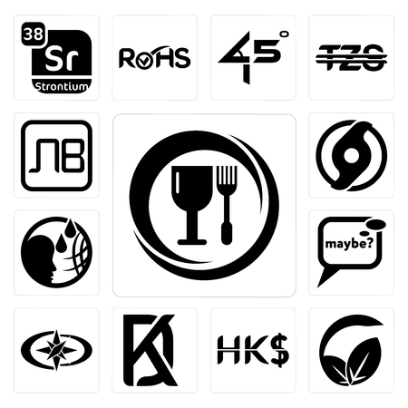 Set Of 13 simple editable icons such as food grade, vegan vs vegetarian, hong kong dollar, kd, polaris, maybe, , official hurricane, bulgarian currency can be used for mobile, web UI