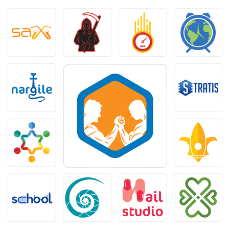Set Of 13 simple editable icons such as arm wrestling, four  hearts, nail studio, nautilus shell, school, lis, peoples, stratis, nargile can be used for mobile, web UI Stock Illustratie