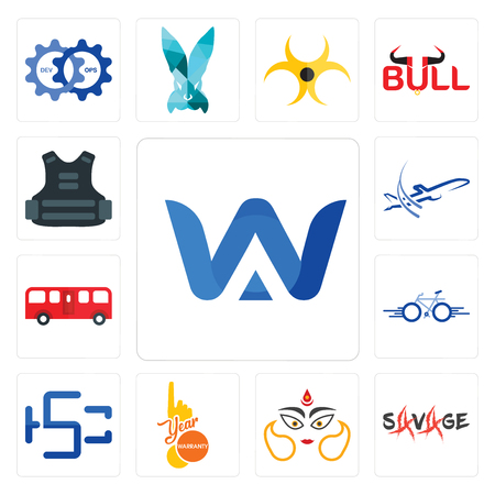 Set Of 13 simple editable icons such as a & w, savage, durga, 1 year warranty, hsc, bike, bus, dreamliner, body armor can be used for mobile, web UI Illustration