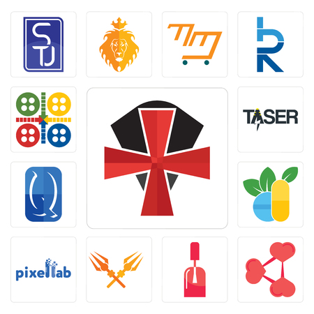 Set Of 13 simple editable icons such as knights templar, share png, nail tech, trishul, pixellab, homoeopathy, quintessentially, taser, ludo can be used for mobile, web UI