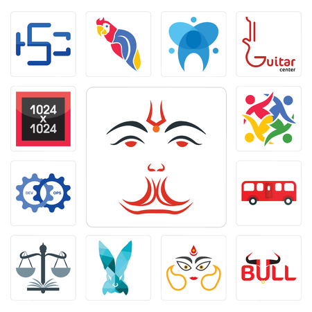 Set Of 13 simple editable icons such as anjaneya, bull, durga, deceit, naacp, bus, devops, unity, 1024x1024 can be used for mobile, web UI