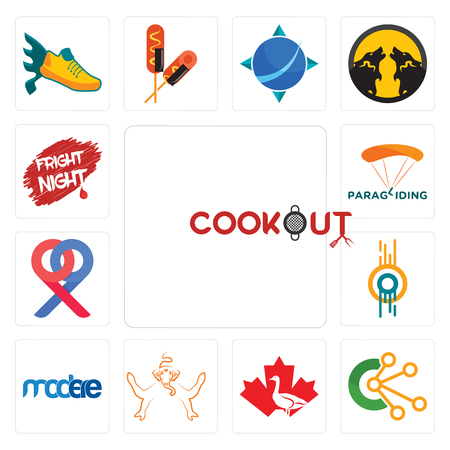 Set Of 13 simple editable icons such as cookout, comunication, canada goose, ganesh, modere, double o, p, paragliding, fright night can be used for mobile, web UI