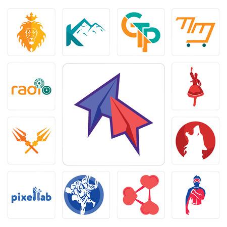 Set Of 13 simple editable icons such as telegram, generic superhero, share png, jiu jitsu, pixellab, kurt, trishul, polish dancer, can be used for mobile, web UI Stok Fotoğraf - 102583334