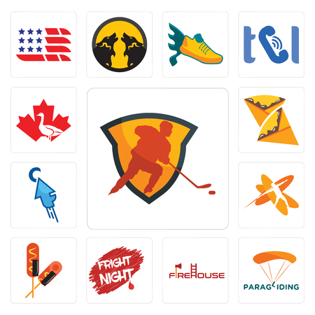 Set Of 13 simple editable icons such as power play hockey, paragliding, firehouse, fright night, corn dog, javelin, fastclick, crepe, canada goose can be used for mobile, web UI
