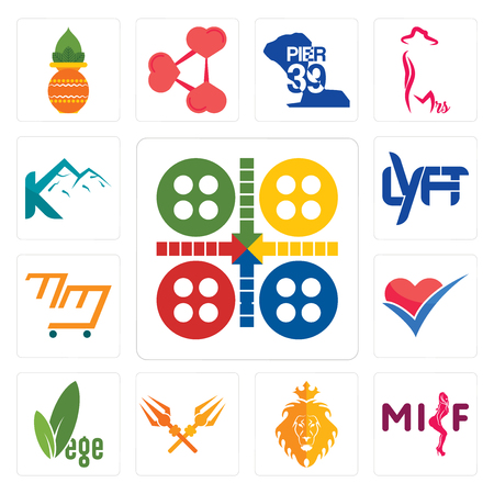 Set Of 13 simple editable icons such as ludo, milf, judah and the lion, trishul, vege, healthier choice, mini mart, lyft, k mountain can be used for mobile, web UI