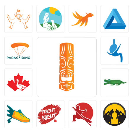 Set Of 13 simple editable icons such as tiki, pack wolf, wushu, fright night, flying shoe, croc, canada goose, gastroenterology, paragliding can be used for mobile, web UI