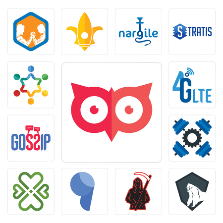 Set Of 13 simple editable icons such as minimal owl, king kong, grim reaper, comma, four  hearts, , gossip, 4g lte, peoples can be used for mobile, web UI Illustration