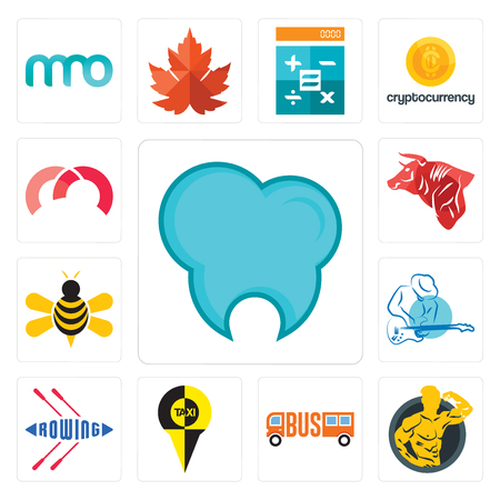 Set Of 13 simple editable icons such as dental clinic, muscle man, , rowing, s music, honey bee, bull, m can be used for mobile, web UI Çizim
