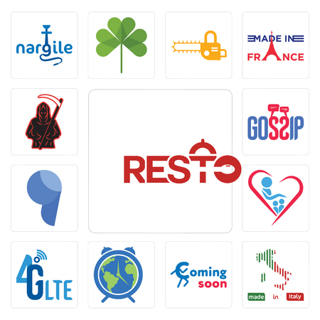 Set Of 13 simple editable icons such as resto, made in italy, coming soon, earth hour, 4g lte, orphanage, comma, gossip, grim reaper can be used for mobile, web UI