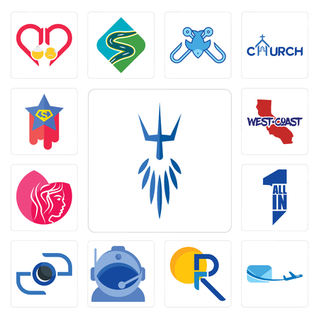 Set Of 13 simple editable icons such as poseidon, air mail, pr, astronaut helmet, camera, all in one, beauty parlor, west coast, superstar can be used for mobile, web UI Ilustração
