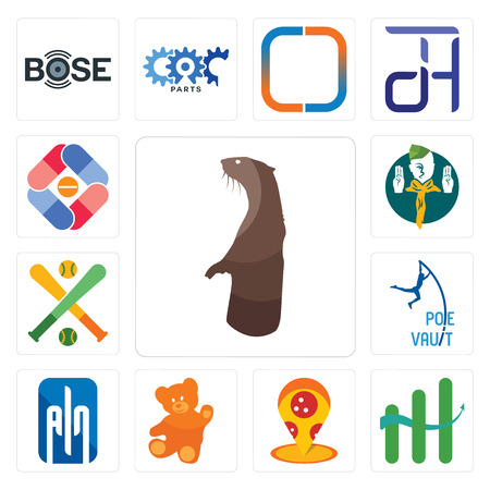 Set Of 13 simple editable icons such as otter, continuous improvement, pizza place, , ain, pole vault, fantasy baseball, boy scout, pharma company can be used for mobile, web UI 일러스트