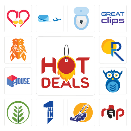 Set Of 13 simple editable icons such as hot deals, rap, lawn mower, all in one, fern, owl company, house, pr, orange lion can be used for mobile, web UI