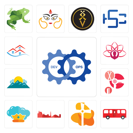 Set Of 13 simple editable icons such as devops, bus, church, leipzig hd, supreme, salon, mountain, lotus, emlak can be used for mobile, web UI Stock Illustratie