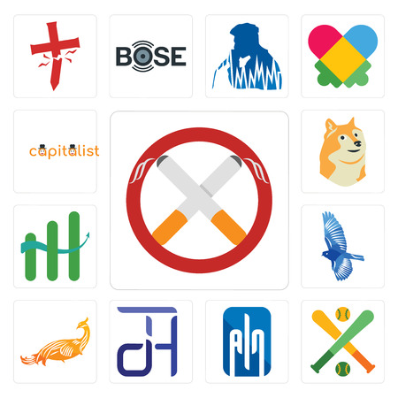 Set Of 13 simple editable icons such as non smoking, fantasy baseball, ain, dth, golden peacock, bird, continuous improvement, doge, capitalist can be used for mobile, web UI Illustration