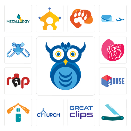 Set Of 13 simple editable icons such as owl company, straight razor, great clips, church, realestate, house, rap, beauty parlor, fishing tournament can be used for mobile, web UI