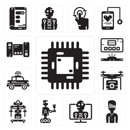 Set Of 13 simple editable icons such as Chip,    Robot, Drone, Car, Hologram, Smartphone can be used for mobile, web UI Illustration