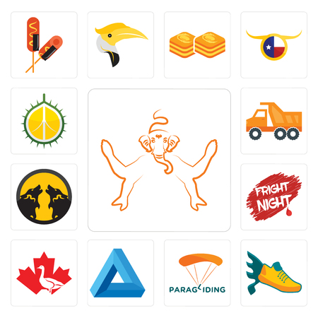 Set Of 13 simple editable icons such as ganesh, flying shoe, paragliding, penrose triangle, canada goose, fright night, pack wolf, tipper, durian can be used for mobile, web UI
