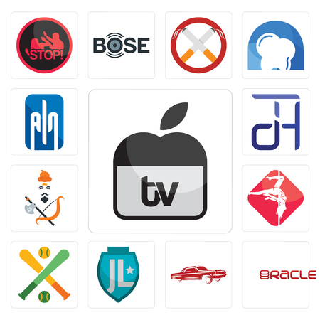 Set Of 13 simple editable icons such as  tv, oracle, lowrider, , fantasy baseball, pole dance, brahmin, dth, ain can be used for mobile, web UI