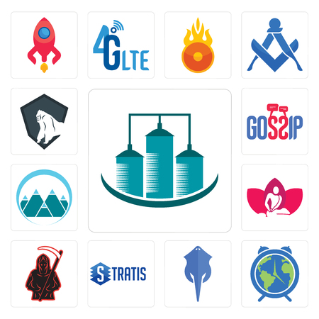Set Of 13 simple editable icons such as silo, earth hour, stingray, stratis, grim reaper, massage therapist, mont, gossip, king kong can be used for mobile, web UI