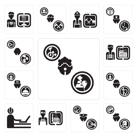 Set Of 13 simple editable icons such as Clown, Painter, Policeman, Welder, Programmer, Priest, Concierge, Tourist, Athlete can be used for mobile, web UI